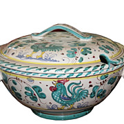 Deruta Italian Majolica Pottery Tureen with Teal Rooster