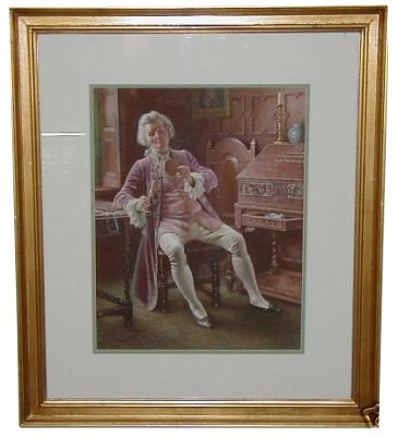 Antique British Watercolor Painting by Lucien Davis