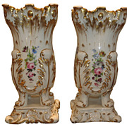 Early Pair of Antique Hand Painted Old Paris Porcelain Footed Vases