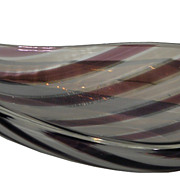 Unusual Vintage Murano Purple Stripe Italian Art Glass Bowl
