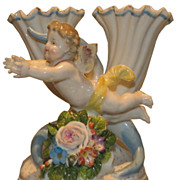 Rare Antique German Porcelain Angel Figural Spill Vase