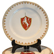 et of 6 Antique Hand Painted Paris Porcelain Armorial Plates w Red Unicorns