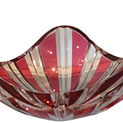 Unusual Art Deco Cranberry Overlay Val St Lambert Crystal Bowl