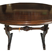 Unusual Antique Oval Designer Trestle Table