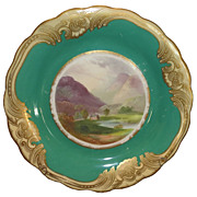 Superb Antique Hand Painted English Porcelain Vale of Bedgelert Scenic Plate