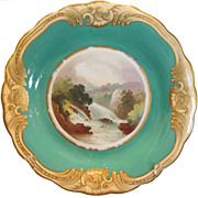 Superb Antique Hand Painted English Porcelain Falls of The Clyde Scenic Plate