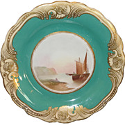 Superb Antique Hand Painted English Porcelain Scenic Plate Near Hastings