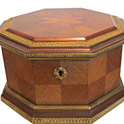 Unusual Antique Marquetry Inlaid Octogonal Wood Jewelry Box