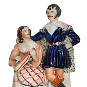 Early Antique Staffordshire Pottery Figurine Romantic Couple