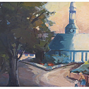 Superb California Mission Oil Painting by Sister Theadora