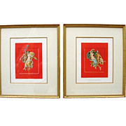 Pair of Unusual Antique Pair French Colored Engravings / Prints of Pompeii