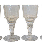 Set of 4 Antique Baccarat Cut Crystal Port Wine Stem Set