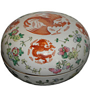 Superb Antique Chinese Famille Rose Pottery Large Box