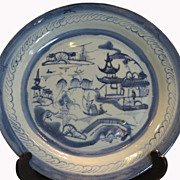 Antique Chinese 18th C Blue & White Pottery Plate w Scenic Decor
