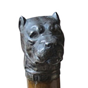 Superb Antique Silver Bull Dog Head Handle Walking Stick Cane