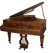 "Antique Collard & Collard Burl Wood Art Case 6'7"" Grand Piano"