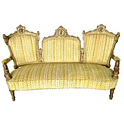 Beautiful 19th C. Victorian Walnut Gilt Sofa w/ Carved Ladies Heads by Jelliff.