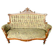 Beautiful 19th C. Victorian Walnut Sofa w/ Carved Ladies Heads by Jelliff.