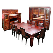 Large Scale Art Deco 11-piece Dining Room Suite in Ebony de Macassar signed �Cayette�