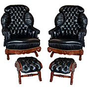 Pair of Turkish Rockers & Footstools Upholstered in Black Leather