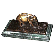 Beautiful Bronze Elephant Inkwell Set.