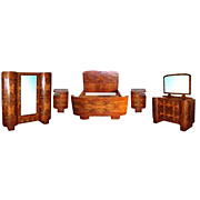 Fantastic 7 piece Art Deco bedset executed in burled Walnut.