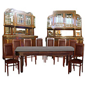 Incredible 1930's Inlaid Walnut Art Nouveau Dining Suite.