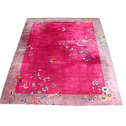 Fabulous Chinese Art Deco Rug with Butterfly & Floral Pattern.
