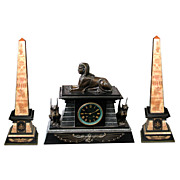 19th C. Egyptian Revival Bronze and Marble Mantle Clock Set