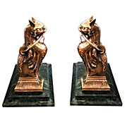 5566 Pair of Antique Egyptian Revival Bronze Cat Andirons