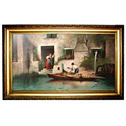 Venetian Scene Oil on Canvas Signed J. Castiglioni 1901