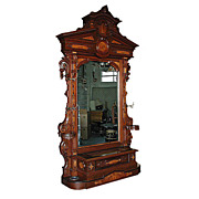Antique Renaissance Revival Carved Rosewood Hall Piece