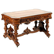 Beautiful American Victorian Library Table with Lions Heads