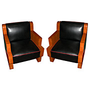 Beautiful Pair of Burled Maple Art Deco Chairs