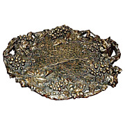 Large Ornate Bronze Tray w/Grape Motif.