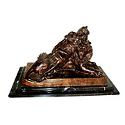 19th C. Bronze of Lady w/ Lion Signed: Levasseur