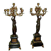 Pr of Early French Empire Figural Bronze Candelabras w/Neo-Classical Women.