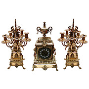 Large 19th C. Cast Bronze 3 Pc  Clock Set w/Lions.