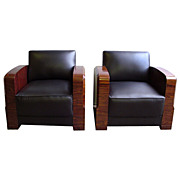 Fantastic Pair of Art Deco Chairs in Black Leather