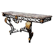 Fabulous French Art Deco Wrought Iron Console with Marble Top
