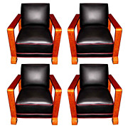 Fantastic Set of Four Matching Art Deco Chairs c. 1920