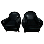 Pair of Art Deco Black Leather Club Chairs