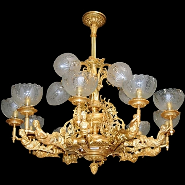 Bronze 12-Light Figural Lady Gas Chandelier