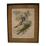 Antique Print of Woman on Gondola