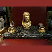 Bronze Indian Head Inkwell with Marble Base