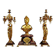 REDUCED 7117 Antique French Gilt Bronze & Marble Figural Garniture Clock Set