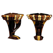Pair of Art Deco Laminated Exotic Woods Demilune Consoles