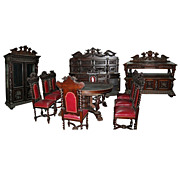 Antique Renaissance Revival Carved Oak Dining Room Suite