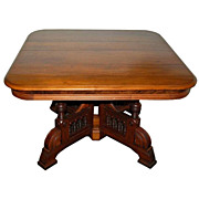 Antique American Eastlake Walnut Center Table