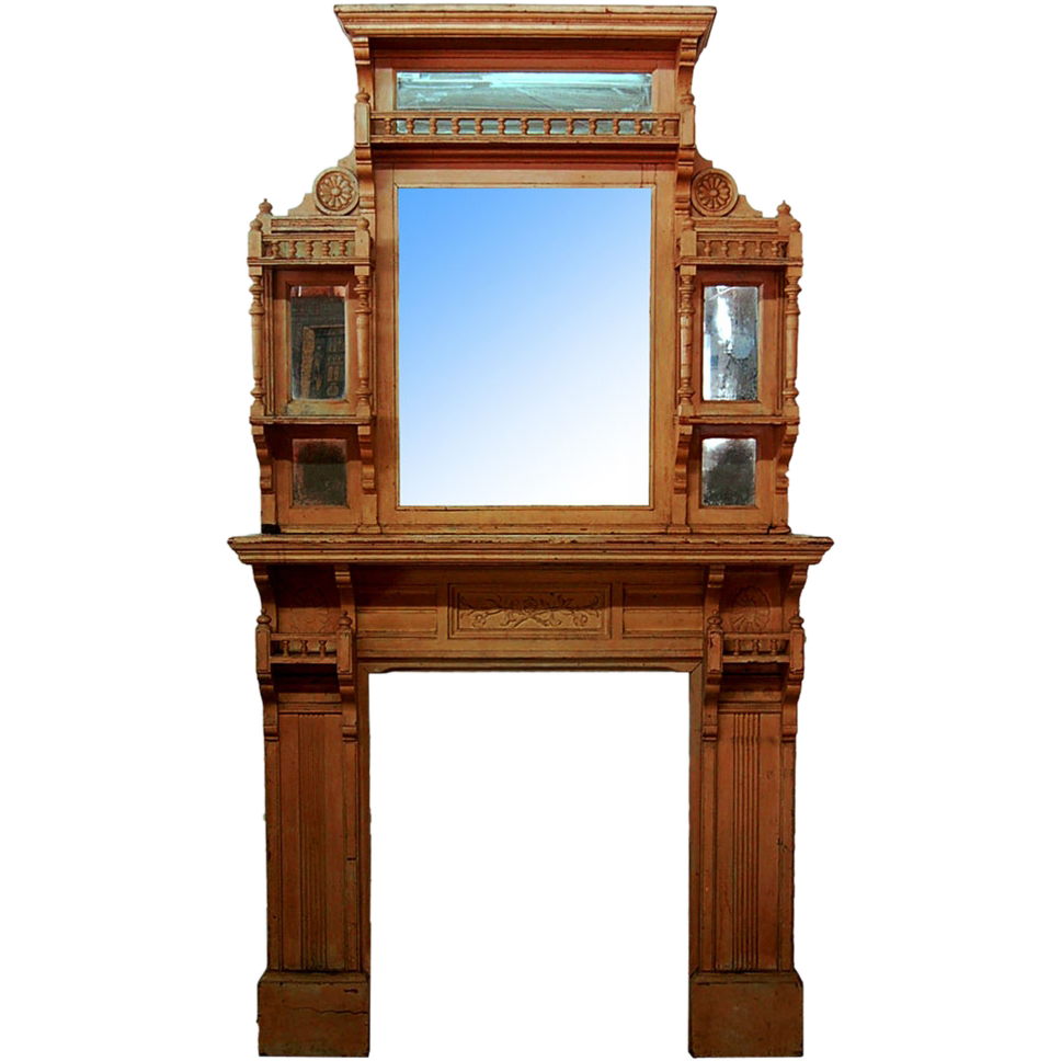 7265 American Aesthetic Movement Walnut Fireplace Mantel Over Mirror From Antiquariantraders